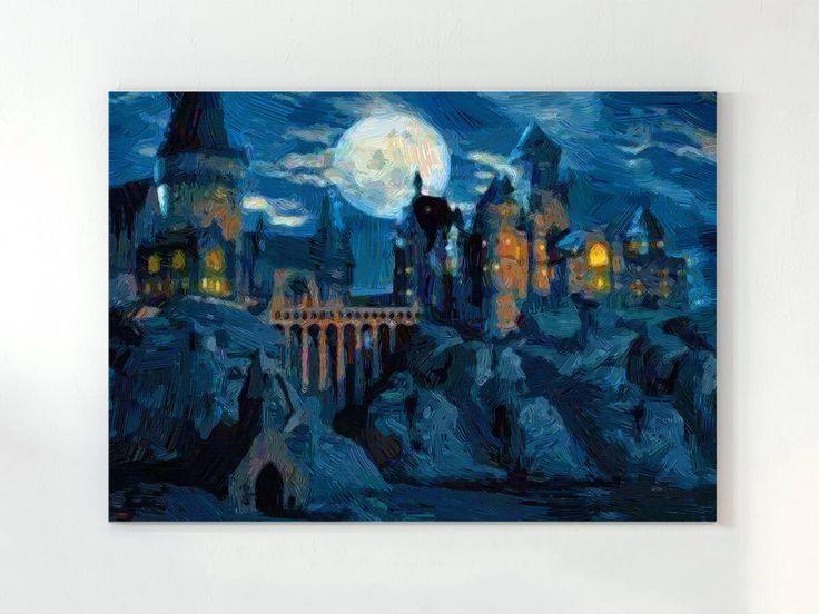 Hogwarts castle, harry potter art, harry potter print, harry potter poster, harry potter artwork, kids room wall art, harry potter canvas by DigitalRomashka on Etsy https://www.etsy.com/listing/515435926/hogwarts-castle-harry-potter-art-harry