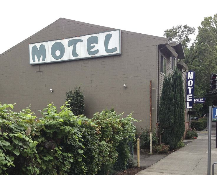 """There's a Motel in Portland Oregon where the 'T' looks like a hatchet.   """"There are plenty of motels in this area. You should've... I mean, just to be safe."""" -Highway Patrol officer in Psycho (1960)  SW PDX but you probably want to contact www.airbnb.com"""