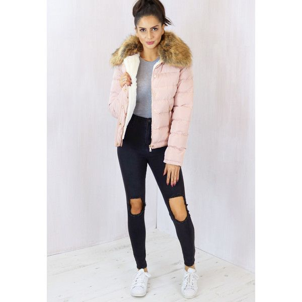 Emily Boxy Short Padded Puffer Anorak Coat in Pink Nude with Natural... ($68) ❤ liked on Polyvore featuring outerwear, coats, ski coat, puffy jacket, pink coat, puffer jacket and short puffer jacket