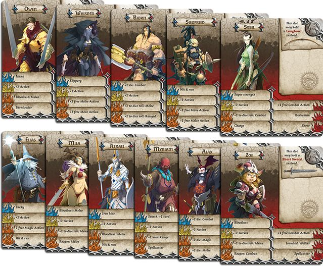 Massive Darkness Survivor ID Cards. Stats depicted are merely illustrative.