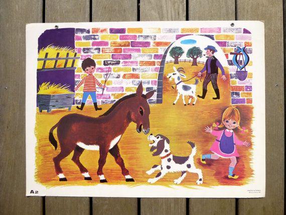 Affiche pédagogique française vintage décor par LeGrenierDeFrancine