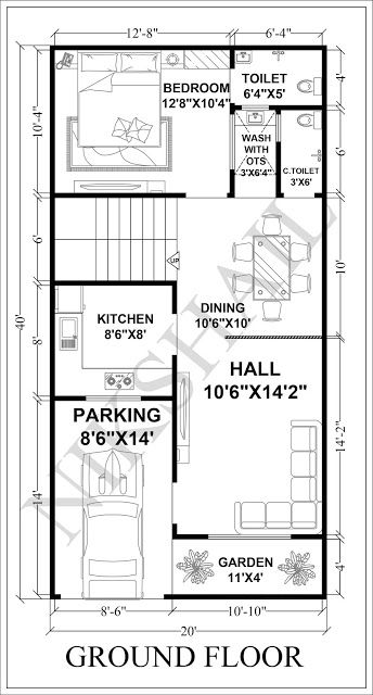 20x40 House Plan Car Parking With 3d Elevation By Nikshail 20x40 House Plans Simple House