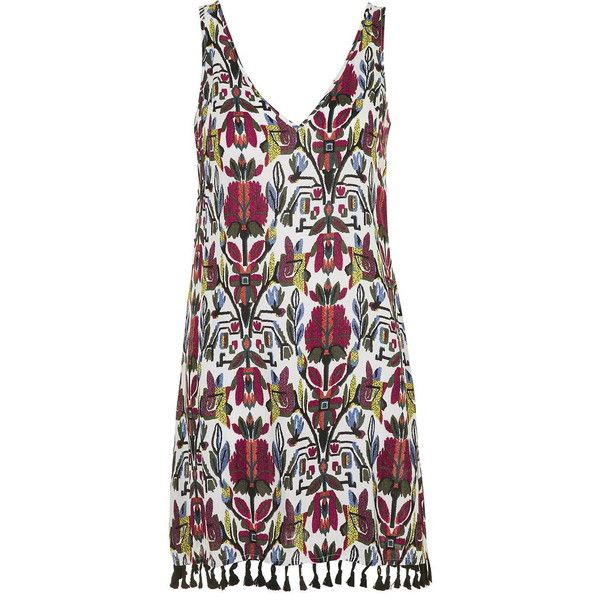 Sardia - Normandy Printed Dress by Wyldr ($66) ❤ liked on Polyvore featuring dresses, multi, topshop, plunge dress, plunging v neck dress, v neck dress and pom pom dress