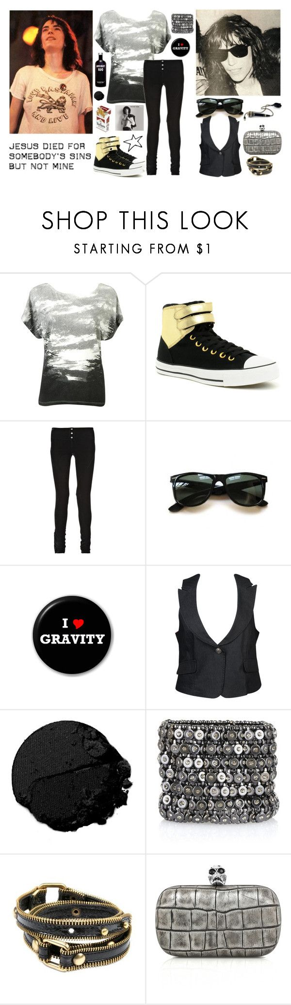 """""""""""Gloria"""" Patti Smith - 70's Singers Contest!"""" by miss-kubelik ❤ liked on Polyvore featuring Forever 21, Converse, Elizabeth and James, Ray-Ban, LIST, Lancôme, Kenneth Jay Lane, Jo No Fui and Alexander McQueen"""