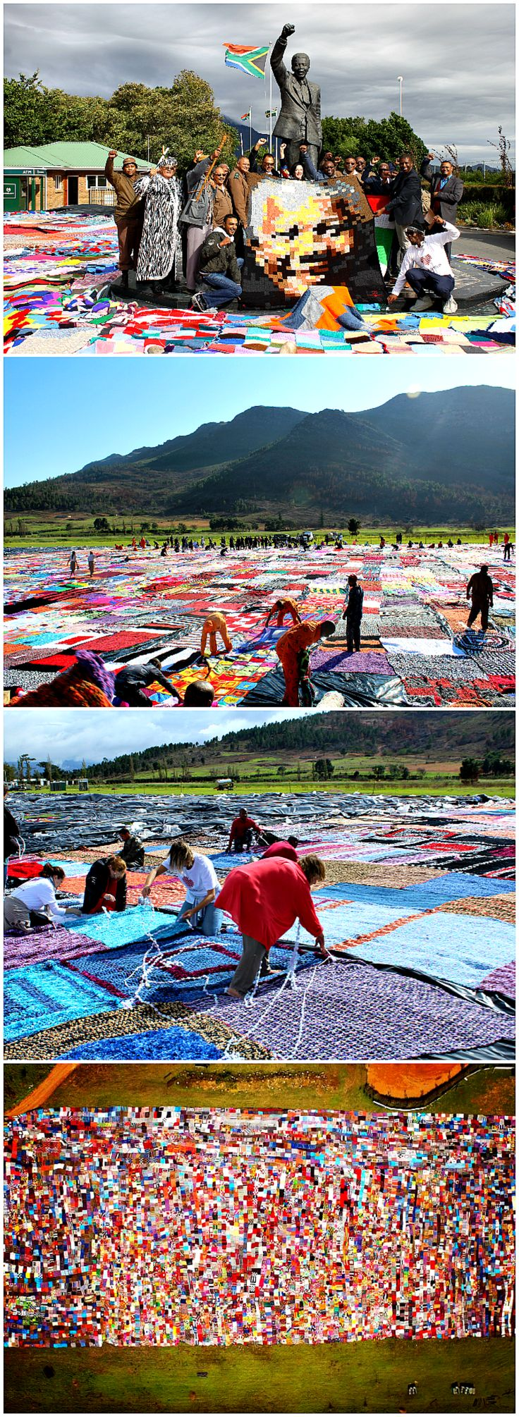 The largest crochet blanket is 17,188.57 m² (185,016 ft²) and was made by 67 Blankets for Nelson Mandela Day, the Department of Correctional Services and the Nelson Mandela Foundation (all South Africa), as measured in Western Cape, South Africa, on 22 April 2016. The blanket was crocheted with the help of around 1,500 inmates from 30 correctional centres across South Africa. #art #craft #DIY #cooperation #together #knitting #crochet #crochetting #blankets #projects #ideas #records #mandela