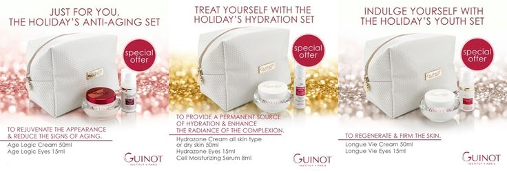 We have Guinot Holiday Gift Sets, one that is right for you or that person you may want to give it to. The three sets are: Hydration Set Anti-Aging Set Youth Set To learn more go to:http://magnoliahousespa.com/promotions