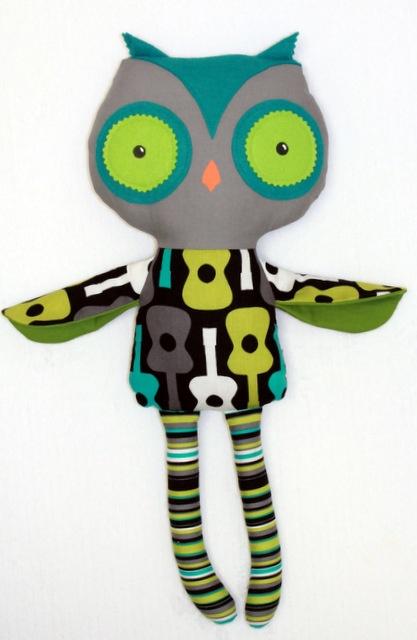 Little DeMoura Designs  Groovy Guitar Boy Plush Owl DollPlushies, Plush Owls, Dolls Ragdolls Stuffy, Rag Dolls, Owls Dolls, Boys Plush