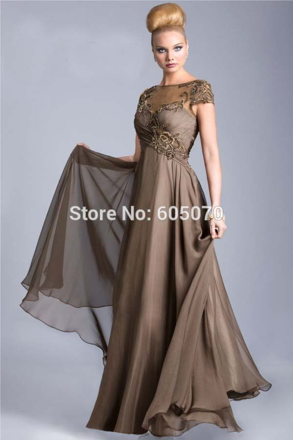 Long Sheer Back Chiffon Mother Of The Bride Dresses Mother Dresses for Wedding Party with Cap Sleeves and Sequins