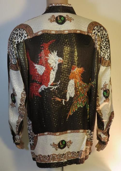 Rare vintage silk shirts for men,Roosters Cock Fighting Shirt.