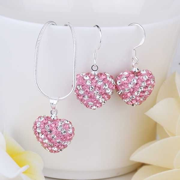 New Arrival!!Wholesale 925 Silver Jewelry Set,Two Piece Heart Necklace&Earring,Fashion Crystal Shamballa Jewelry SBS078