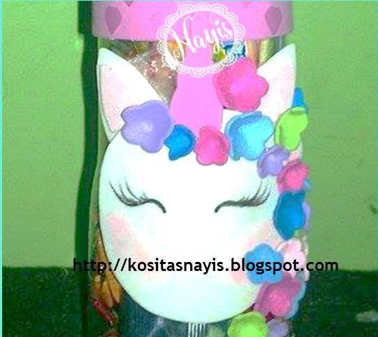 Dulcero Cotillon decorado con unicornio en foami