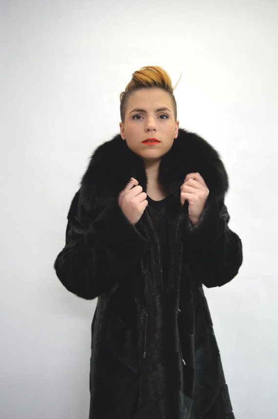 Real fur coat black sheared fur coat genuine nutria fur by BeFur