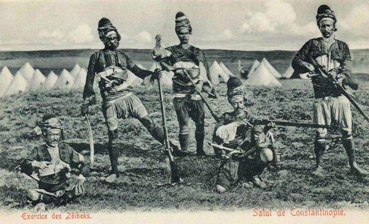 Ottoman zeibek (zeybek, ziebek) irregular soldiers, late 1800s.