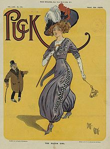The Harem Girl, drawn by Bert Green for Puck, March 1911. Paul Poiret's Jupe-Culotte or Harem Pants could be worn under a tunic. The style provided freedom for fashionable ladies interested in bicycling, automobiles and of course, aviation.
