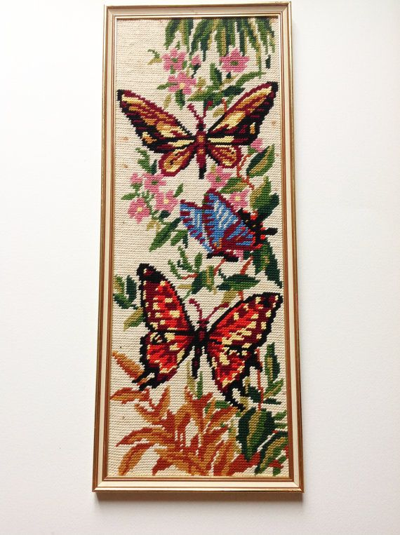 Vintage butterfly and flowers tapestry  1970