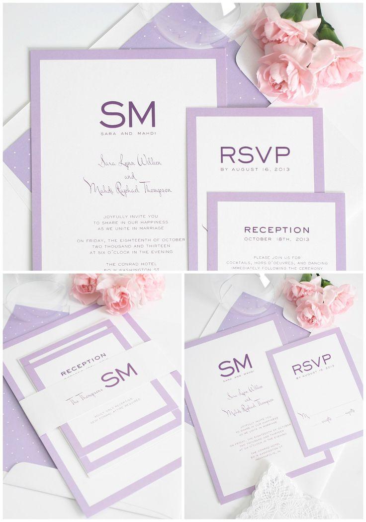 Light Purple wedding invitations with borders and monogram - http://www.shineweddinginvitations.com/blog/purple-wedding-invitations-modern/