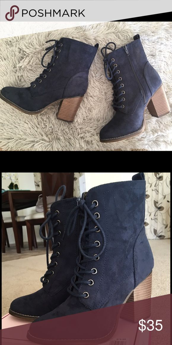 Candie's Navy Blue Ankle Boots 7.5 Brand New Suede 3.5 high heels -Non-smoking home *No trades* Price Firm Candie's Shoes Ankle Boots & Booties