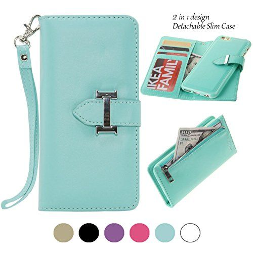 IPhone 6 Wallet Case For Women Detachable Mint Green/ IPhone 6 Detachable  Zipper Wallet Purse With Card Holder Strap Magnetic Slim Cover Compatible  For ...