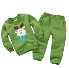 Baby clothing Kid children girls boys cartoon clothes set Fleece Sweats&pants Christmas Costume tracksuit roupas de bebes ZBF117(China (Mainland))