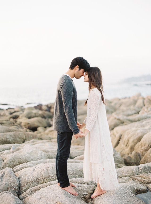 Laidback California Engagement Session via oncewed.com #wedding #engagement #california #seaside #romantic #lace