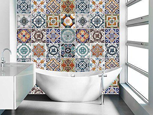 Portugués azulejos patrones (48 azulejos calcomanías) etiquetas engomadas del azulejo - azulejos de cocina Backsplash o azulejos para baño - SKU:APATiles