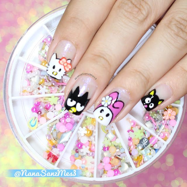 Sanrio Town Characters! ❤♫ by @nanasanzmes3 using nail art decoration in wheel item #04412451 from @LightInTheBox