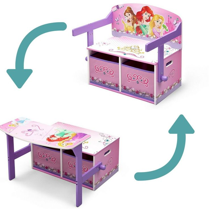 Disney Toy Box Wooden Bench Desk Princess Furniture Convertible 3 in 1 Purple #ToyBoxWoodenBench