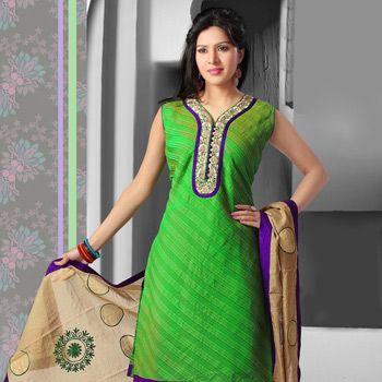 Green Art Silk Readymade Churidar Kameez