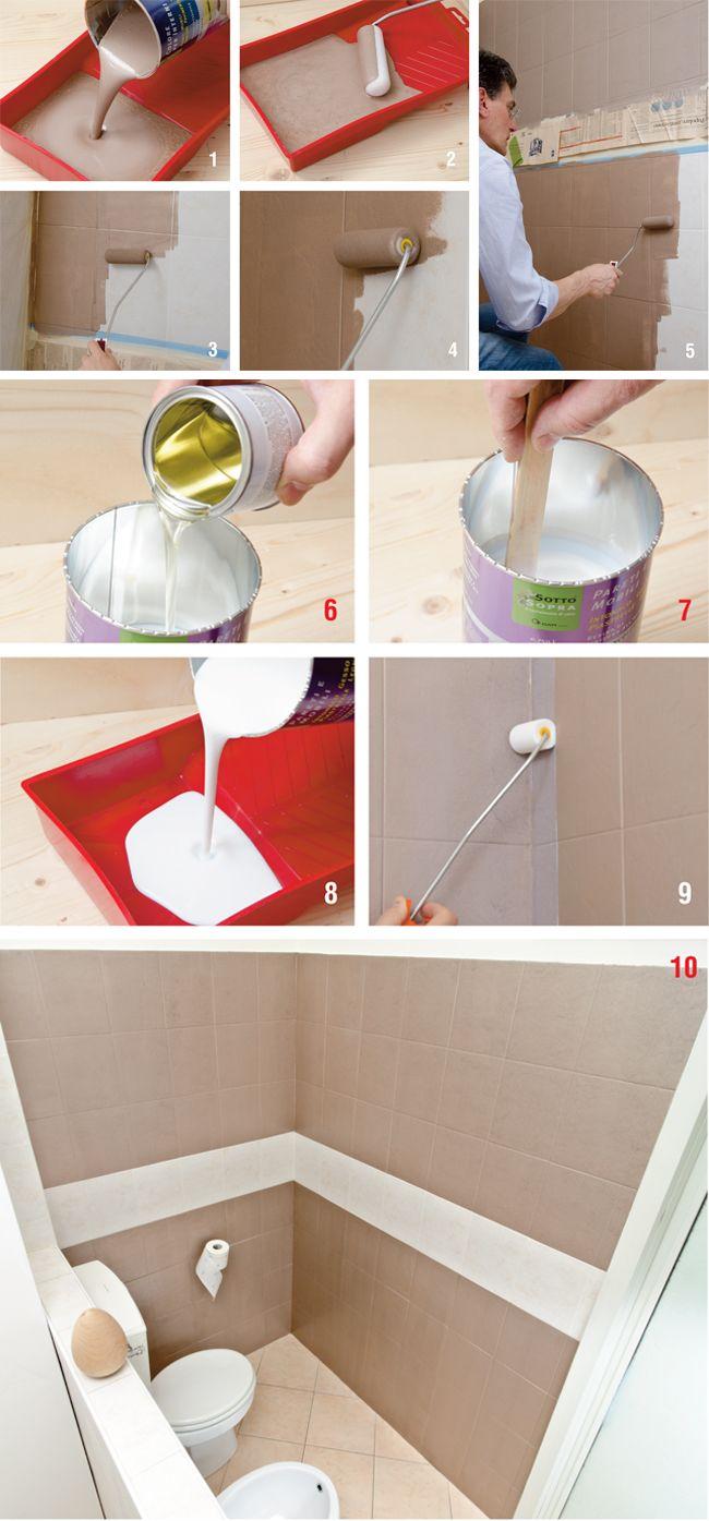 Pi di 25 fantastiche idee su dipingere piastrelle del - Dipingere piastrelle bagno ...