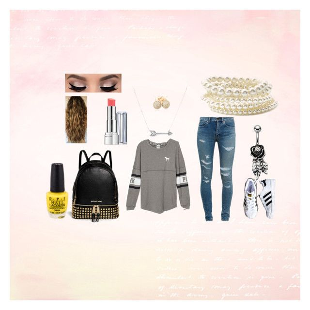 Back to school 2015-2016 by lovestory-143 on Polyvore featuring mode, Victoria's Secret PINK, Yves Saint Laurent, adidas, MICHAEL Michael Kors, Forever 21, Loushelou, Adina Reyter and Revlon