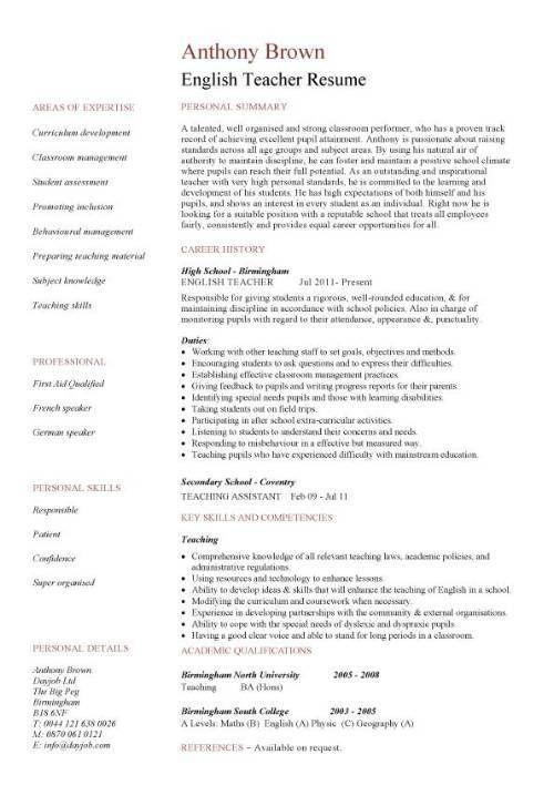 english teacher cv sample assign and grade class work