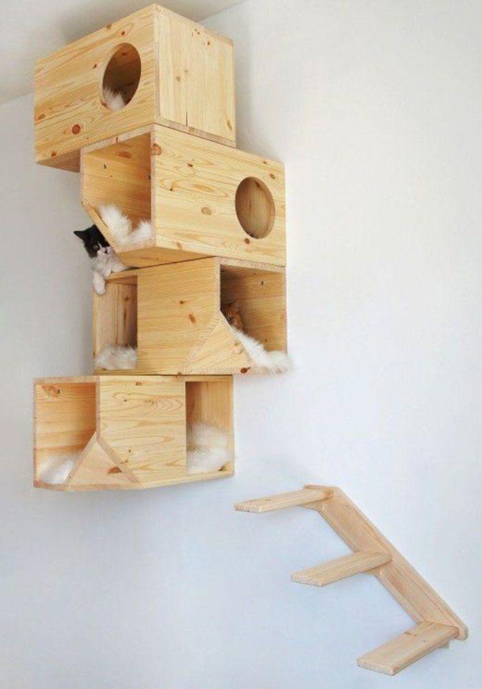 10 DIY pour les amoureux des chats : enfin un arbre à chat déco ! - 10 DIY for cat ladies and dudes : finally a beautiful cat tree / Marie Claire Idées