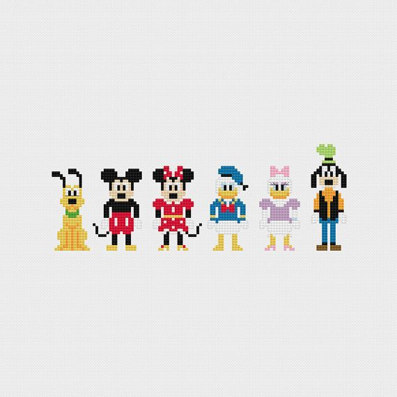Disney Mickey & Friends (Pluto, Mickey Mouse, Minnie Mouse, Donald Duck, Daisy Duck, Goofy) inspired cross stitch pattern PDF instant download includes: Full color, easy-to-read chart with color symbols and DMC thread legend Bonus: Cross-stitching Basics PDF