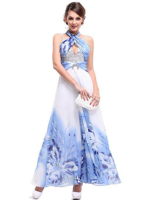 Sexy halter evening dress Ever Pretty Blues Sequins Diamante Halter Printed Chiffon Evening Dress