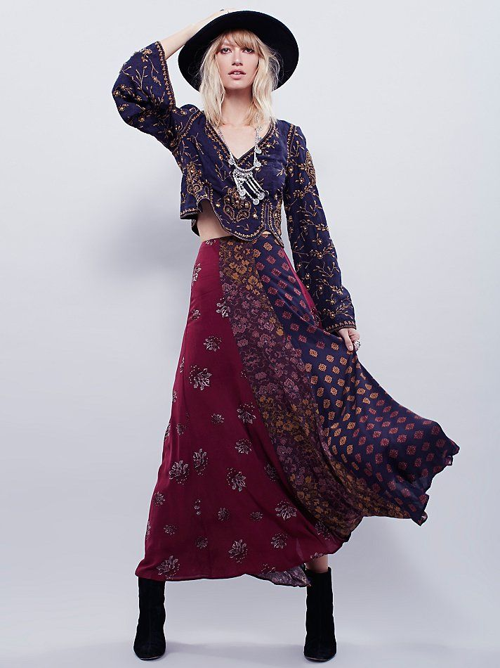 Free People Amazing Technicolor Printed Trumpet Skirt, $128.00