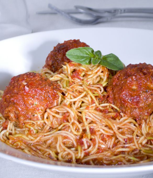 Jennifer Cornbleet ~ Zucchini Noodles Marinara. You won't miss wheat pasta in this flavorful Italian entrée.