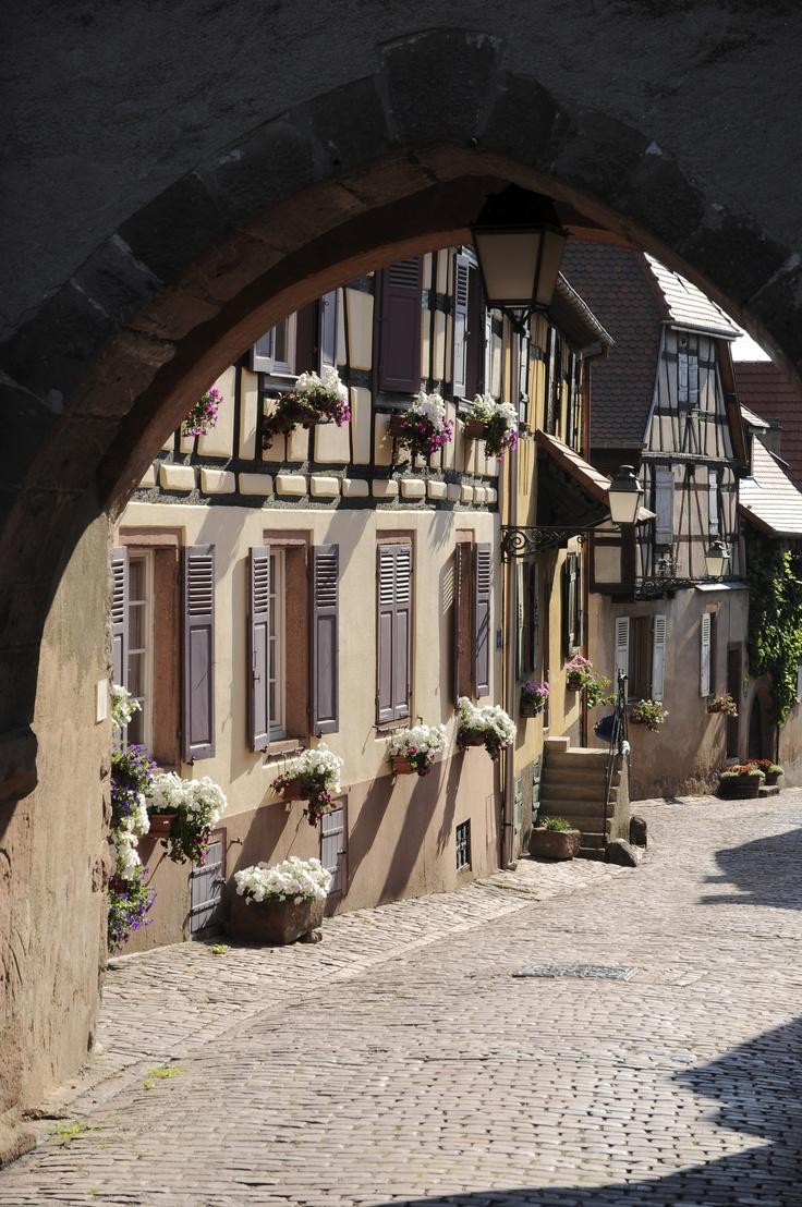 Rue pittoresque avec ses maisons à colombage à #Ammerschwihr