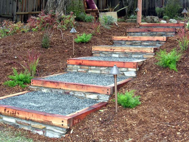 How to build redwood and stone steps stone steps stones for Pictures of stone steps