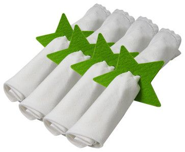 Felt Star Napkin Holder - Set Of 4 Pieces - Apple Green contemporary-napkin-rings