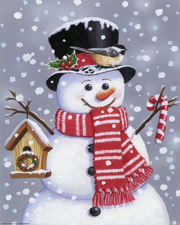 Открытка с изображением снеговика