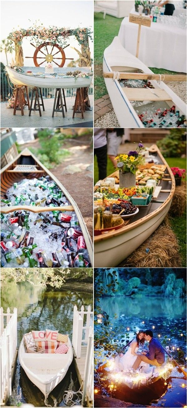 rustic wedding themes- canoe wedding decor ideas http://www.deerpearlflowers.com/rustic-canoe-wedding-ideas/
