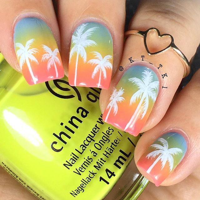 ESPAÑOL AL FINAL❗️❗️ . Palm trees design. Colors by @chinaglazeofficial -boho blues -trip of a lime time -pinking out the window . ------------------ . ESPAÑOL❗️ . Diseño de Palmas. Colores de @chinaglazeofficial -boho blues -trip of a lime time -pinking out the window