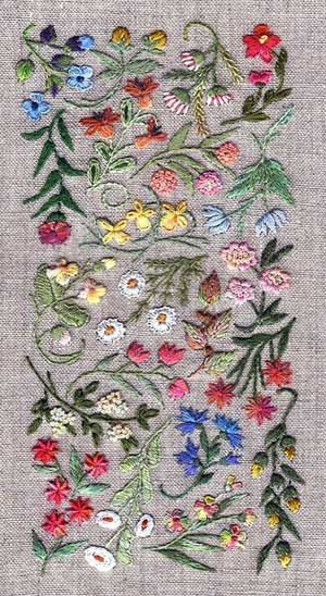 'This embroidery design – titled Mille Fleurs – is my favorite of the seven kits. It involves some 13 stitches in a 2.5 x 5″ design.'
