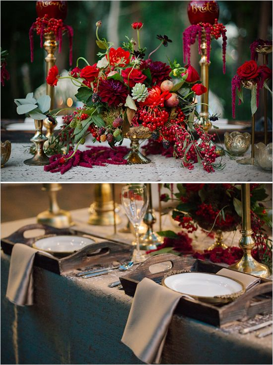 rustic red and gold table decor http://www.perfectstatement.com/ design & Claire Marika Photogarphy snow white wedding @pseventdesign