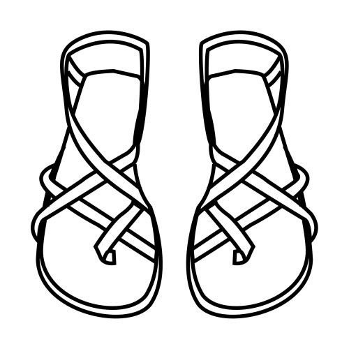 how to draw sandals on feet