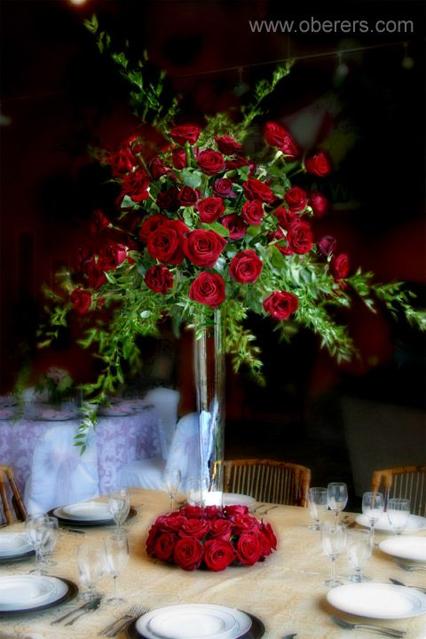 Silver Trumpet Vase with Red Roses and Mixed Greenery. Lovely!