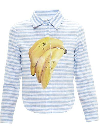 Natasha Zinko Striped Banana Print Shirt