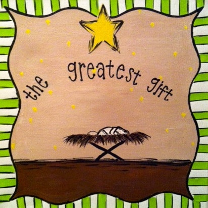 Greatest Gift Nativity Canvas by WHIMSYandSWEET on Etsy, $25.00
