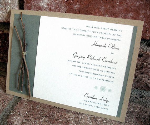 Rustic Winter Wedding Invitation by JacquelineAnnInvites on Etsy, $5.00