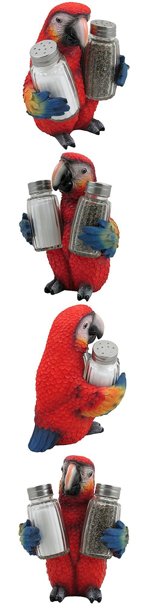 Tropical Parrot Glass Salt and Pepper Shaker Set with Holder Figurine for Beach Bar or Restaurant & Nautical Kitchen Table Decor or Decorative Macaw and Bird Sculpture Spice Rack Gifts